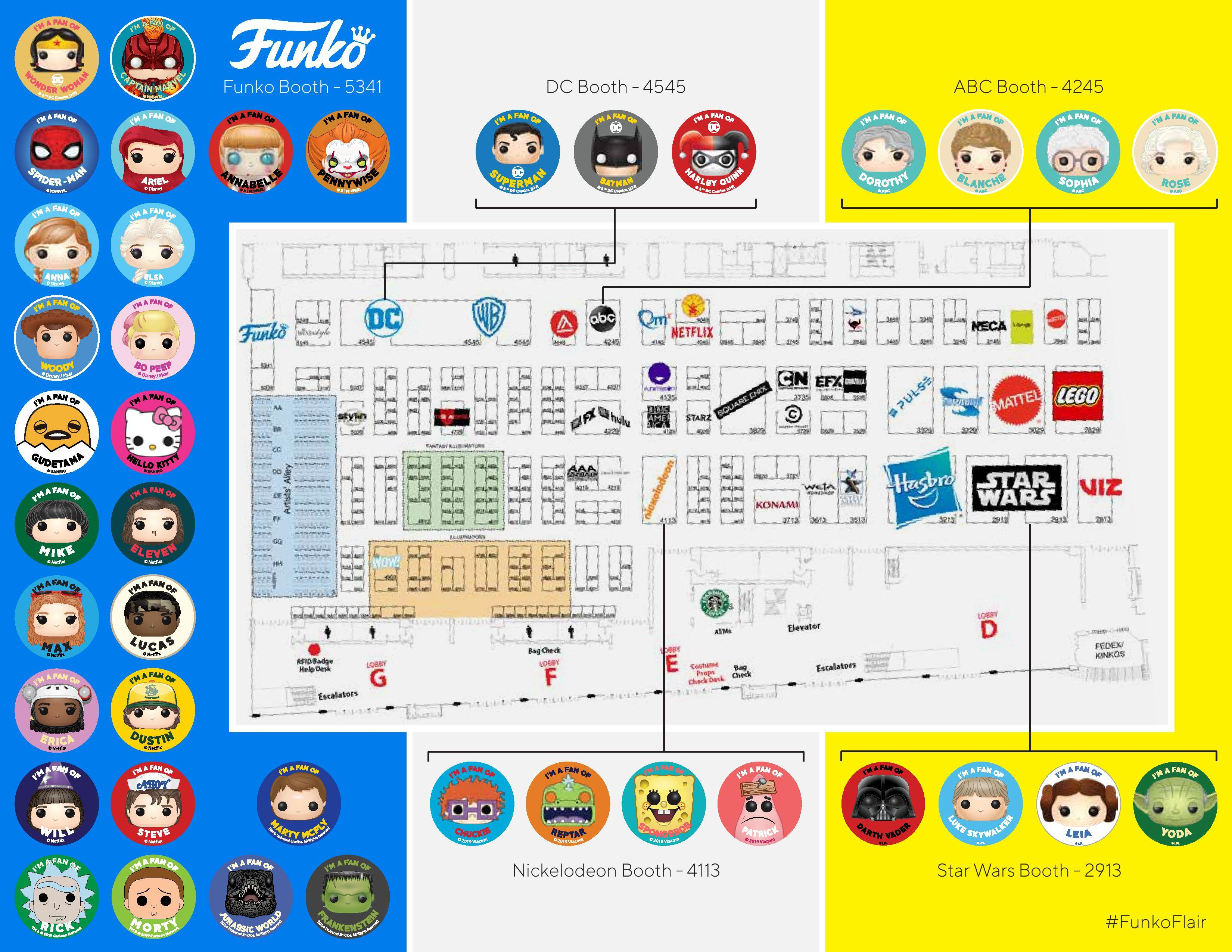 SDCC 2019: Everything You Need To Know!   Funko on halloween map, otakon map, pax map, thundercats map, transformers map, convention map, sandman map, the dark knight map, tron map, thanksgiving map, tmnt map, black widow map, avengers map, spiderman map,